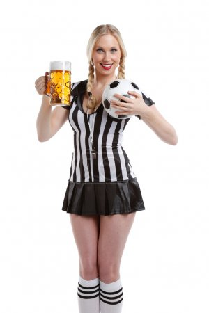 woman in soccer referee clothes