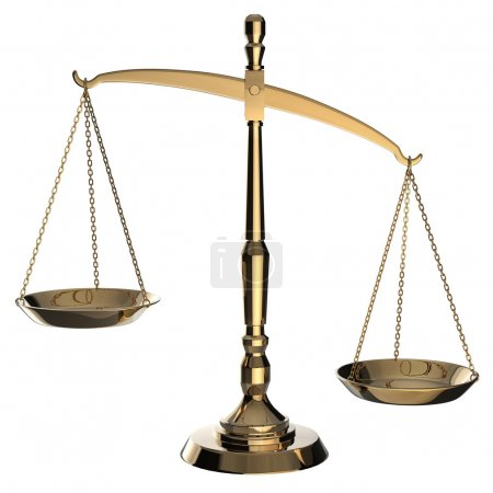 Photo for Gold scales of justice isolated on white background with clipping path. - Royalty Free Image