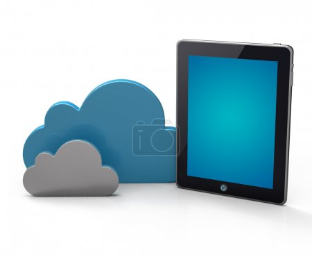 Photo for Cloud network and the digital tablet pc. Conceptual image. - Royalty Free Image