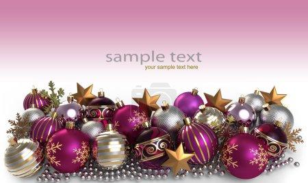 Foto de Fondo de Navidad con adornos y copo de nieve - Imagen libre de derechos