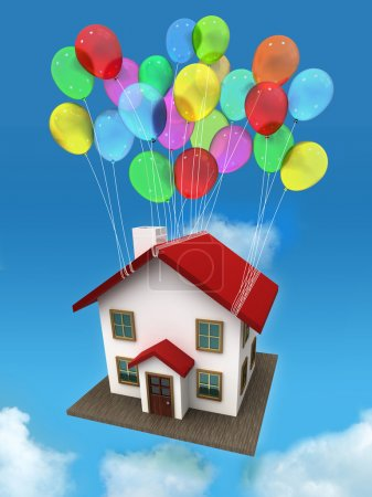 House with balloons in the sky