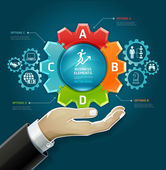 Business concept businessman hand with business strategy diagram options in Gears symbol Vector illustration can be used for workflow layout diagram number options  web design infographics