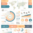 Clean Color Infographics Elements with World map a...