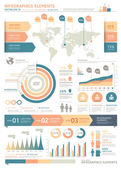 Clean Color Infographics Elements with World map and Information graphics