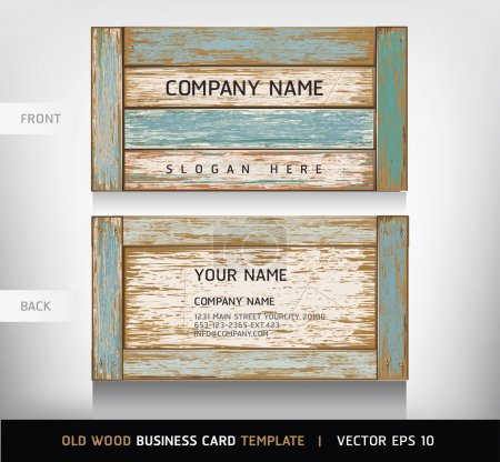 Old Wooden Texture Business Card Background. vector illustration