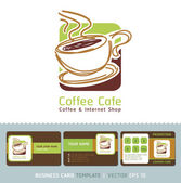 Coffee Cafe icon logo and business cards Vector illustration