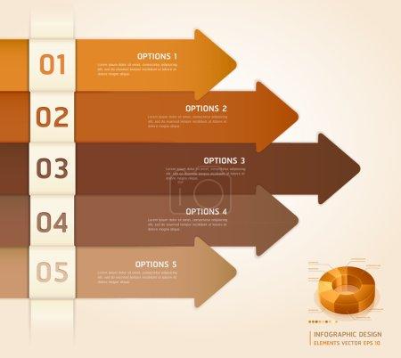 Illustration pour Retro couleur infographie nombre Options bannière & Cardinal Vector illustration - image libre de droit
