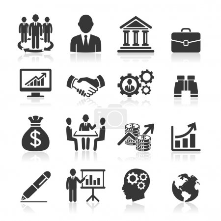 Illustration for Business icons, management and human resources set - Royalty Free Image