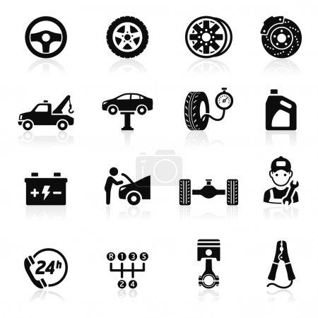 Illustration for Car service maintenance icon set. Vector illustration. - Royalty Free Image