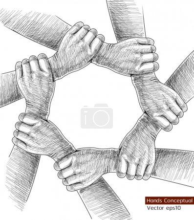 Illustration pour Mains de dessin conceptuel. - image libre de droit