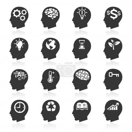 Illustration for Thinking Heads Icons. vector - Royalty Free Image