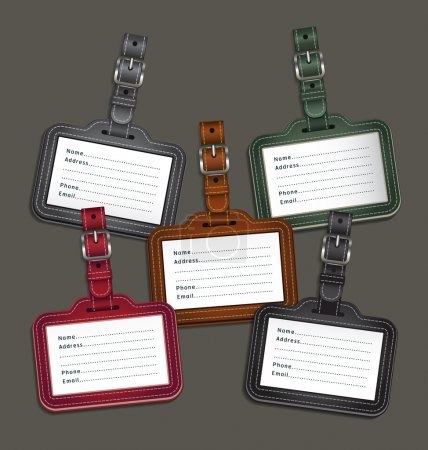 Illustration for Leather luggage tags labels. Vector illustration - Royalty Free Image