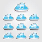 Cloud technologie ikony a tlačítka set. vektorové ilustrace