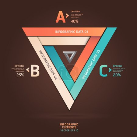 Modern infinite triangle origami style options banner. Vector il