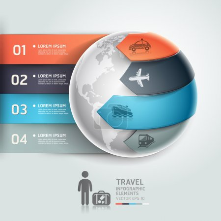 Photo for Abstract globe infographics travel transportation element template. Vector illustration. can be used for workflow layout, diagram, number options, step up options, web design, banner. - Royalty Free Image