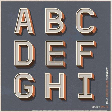 Alphabet retro colour style. Vector illustration.