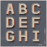 Alphabet retro colour style. Vector illustration....