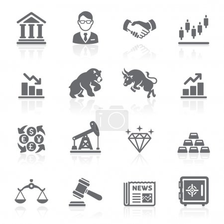 Business and finance stock exchange icons. Vector illustration