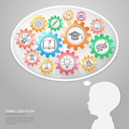 Illustration for Education Thinking Concept. Children and Bubble Think with Education icons in Gears. Vector Illustration - Royalty Free Image