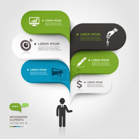 Illustration for Modern business bubble speech template style. Vector illustration. can be used for workflow layout, diagram, number options, step up options, web design, banner template, infographic. - Royalty Free Image