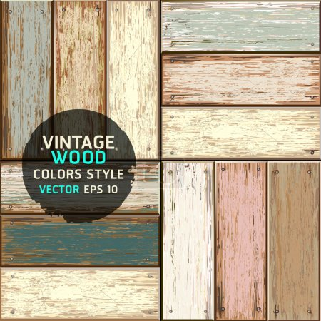 Illustration for Wooden vintage color texture background. vector illustration. - Royalty Free Image