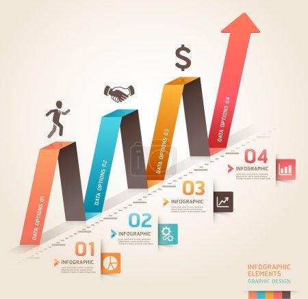 Illustration pour Modèle moderne de flèche origami infographie d'entreprise. Illustration vectorielle. peut être utilisé pour la mise en page de flux de travail, diagramme, options de nombre, options d'étape d'affaires, bannière, conception Web . - image libre de droit