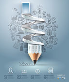 Business pencil staircase Infographics option Vector illustration can be used for workflow layout banner diagram number options step up options web design