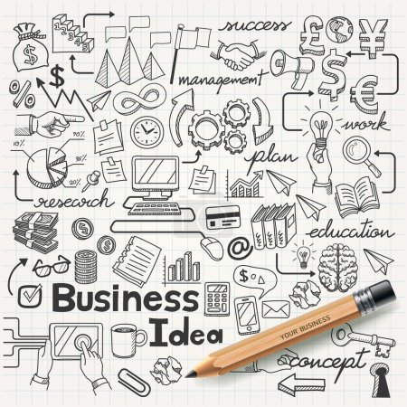Illustration for Business Idea doodles icons set. Vector illustration. - Royalty Free Image