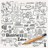 Business Idea doodles icons set Vector illustration