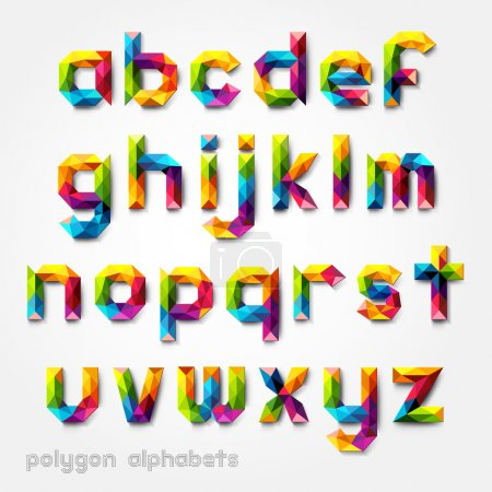 Illustration for Polygon alphabet colorful font style. Vector illustration. - Royalty Free Image