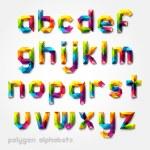 Polygon alphabet colorful font style. Vector illus...