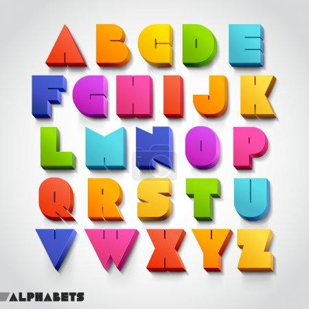 Illustration pour 3D nombre d'alphabet coloré. illustration vectorielle. - image libre de droit