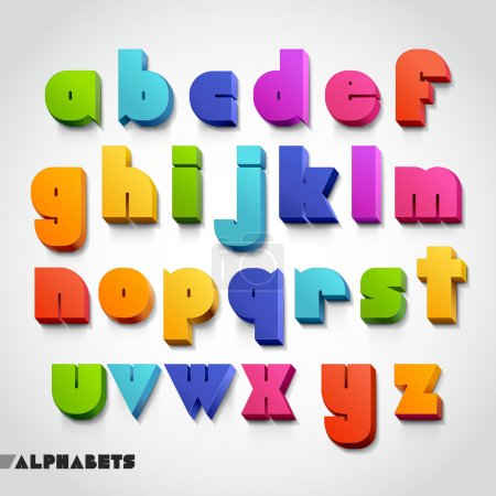 Illustration for 3D alphabet number colorful. Vector illustration. - Royalty Free Image