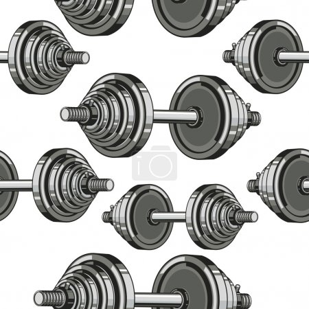 Dumbbells Seamless Pattern.