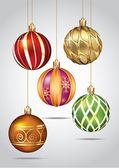 Christmas ornaments hanging on gold thread Vector illustration