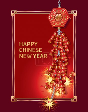 Illustration for Fire Cracker Chinese New Year. Vector illustration - Royalty Free Image