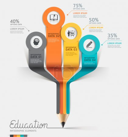 Photo for Education pencil Infographics step option. Vector illustration. can be used for workflow layout, banner, diagram, number options, step up options, web design. - Royalty Free Image