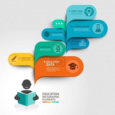 Illustration pour Éducation Infographie étape option. Illustration vectorielle. peut être utilisé pour la mise en page du flux de travail, bannière, diagramme, options de nombre, options d'intensification, conception Web . - image libre de droit