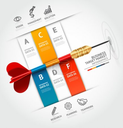 Illustration for Business concept infographic template. Business target marketing dart idea. - Royalty Free Image