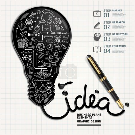 Illustration for Business doodles icons set. Ink shaped light bulb on paper. Vector illustration. - Royalty Free Image