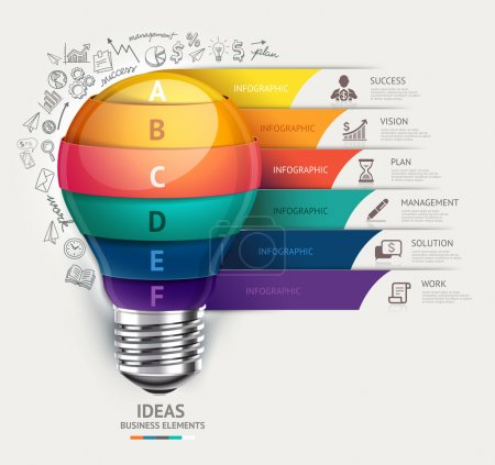 Illustration for Business concept infographic template. Lightbulb and doodles icons set - Royalty Free Image