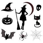 Halloween icons and emblems. Editable vector set...