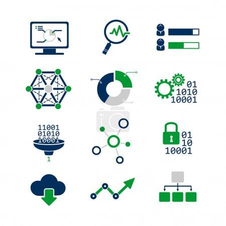 Illustration for Data analytic icons set - Royalty Free Image