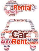 Car rental pictogram tag cloud illustration