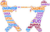 tug of war pictogram - playing children tag cloud