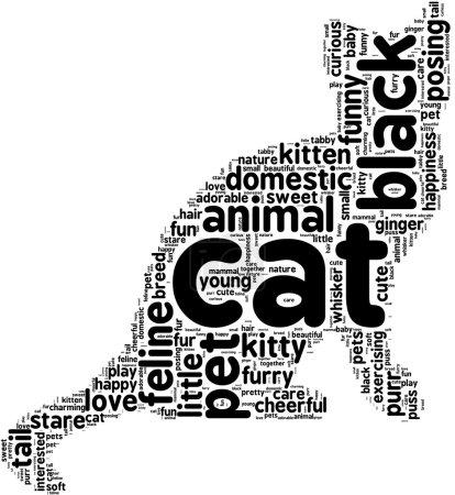 Photo pour Mots associés sur les animaux domestiques en collage de chat noir en forme de mot - image libre de droit