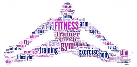 Fitness tag cloud illustration