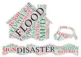 Flood concept pictogram tag cloud illustration