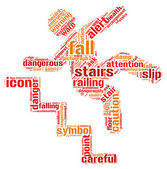 Caution stairs sign tag cloud illustration