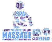 Spa massage pictogram tag cloud illustration